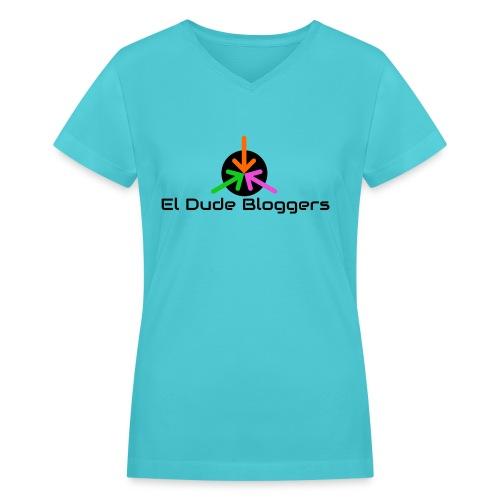 El Dude Bloggers Logo Women's Shirt - Women's V-Neck T-Shirt