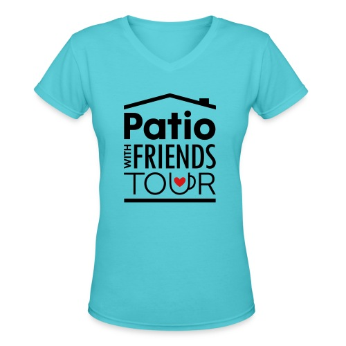 Patio Ladies V-Neck (Black/Red) - Women's V-Neck T-Shirt