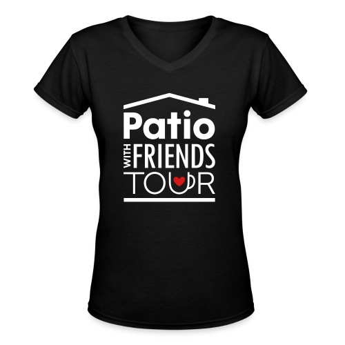 Patio Ladies V-Neck (White/Red) - Women's V-Neck T-Shirt