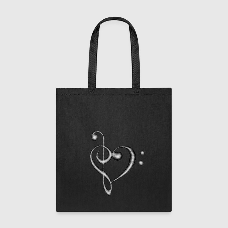 Treble & Bass Clef Heart - Tote Bag