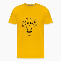 flowerpot sweet cute little cactus face comic cart T-Shirts