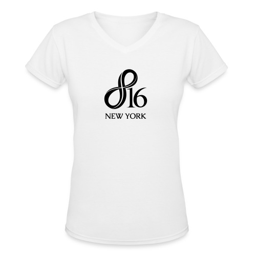 Her V-Neck + 816nyc.com on sleeve - Women's V-Neck T-Shirt