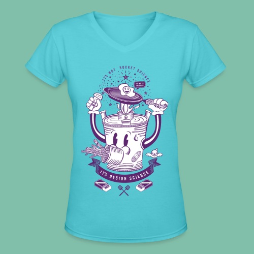Mr Rocket Stove (purple) - Women's V-Neck T-Shirt