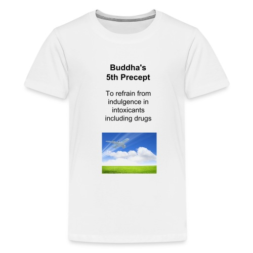 Kids' white t-shirt with Buddha's 5th Precept and photo of plant flying off.  - Kids' Premium T-Shirt