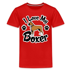 I Love My Boxer Dog - Kids' Premium T-Shirt