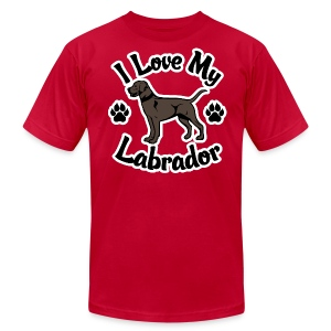 I Love My Chocolate Lab - Men's T-Shirt by American Apparel
