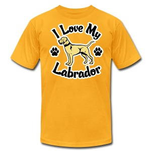 Love My Yellow Labrador or Lab - Men's T-Shirt by American Apparel