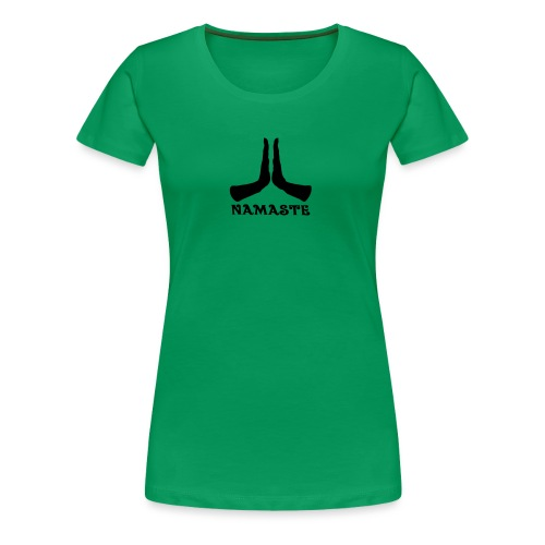 Namaste Hands T-shirt Woman's - Green - Women's Premium T-Shirt