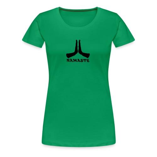 Namaste Hands T-shirt Woman's - Green - Women's Premium T-Shirt