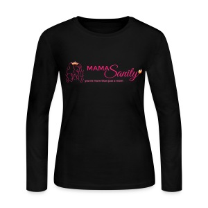 Women's Long Sleeve Jersey T-Shirt - Crown,Cute mom,Mommy,Moms sanity,Queen,badass,beautiful,cute,defiant,edgy,empowerment,gold,insanity,lioness,mamasanity,moms,more than just a mom,parenting,pink,rebellious,sanity,women