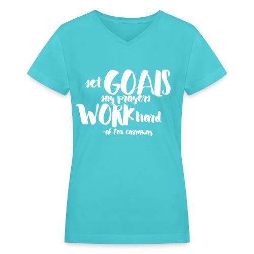 Set Goals (White) - Women's V-Neck T-Shirt