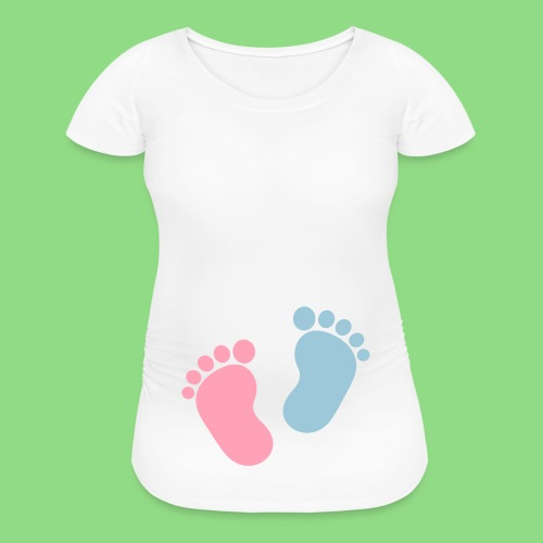 Girl or Boy Footprint Baby Bump - Women's Maternity T-Shirt