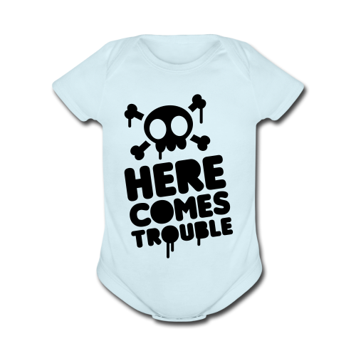 Here Comes Trouble One Piece   - Organic Short Sleeve Baby Bodysuit