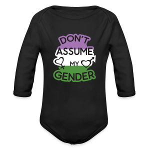 Don't assume my gender genderqueer pride - Long Sleeve Baby Bodysuit