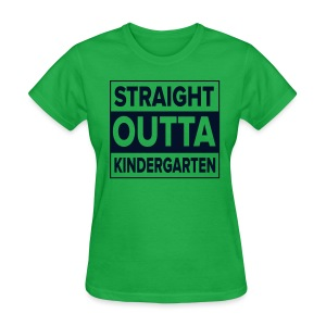 Straight Outta Kindergarten BLACK GLITTER - Women's T-Shirt