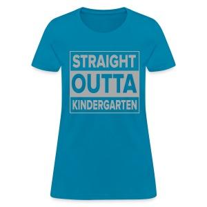 Straight Outta Kindergarten SILVER GLITTER - Women's T-Shirt