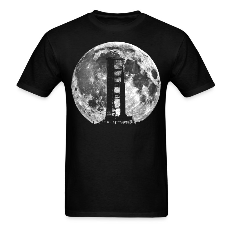 Saturn V Rocket Silhouette Moon t shirt - Men's T-Shirt