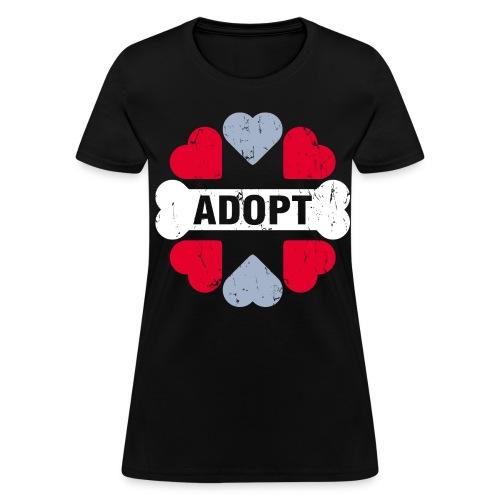 FSR Women's Black T-Shirt - 'Adopt' (double sided) - Women's T-Shirt