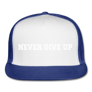NEVER GIVE UP Unisex Two-Tone Hat - Trucker Cap