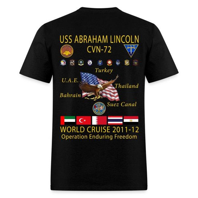 USS ABRAHAM LINCOLN CVN-72 WORLD CRUISE 2011-12 CRUISE SHIRT