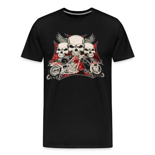 Flying Skulls of Death Biker T-Shirt - Men's Premium T-Shirt