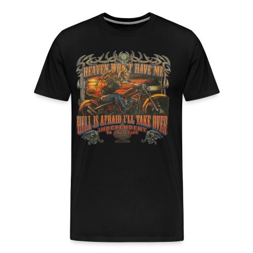 Heaven Won't Have Me Vintage Biker T-Shirt - Men's Premium T-Shirt