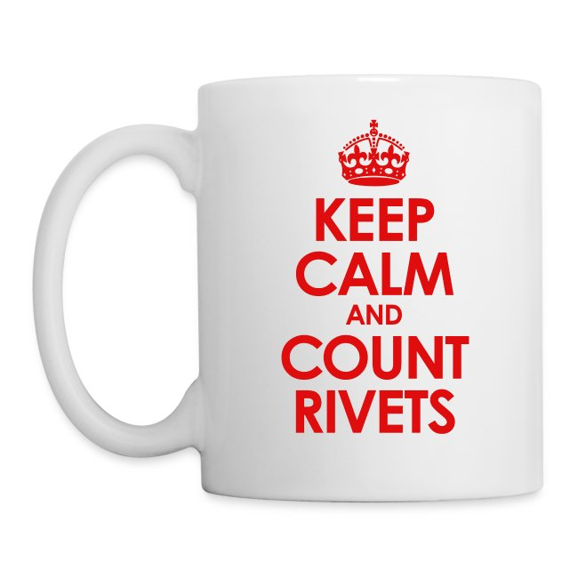 Count Rivets Armor Journal coffee mug.