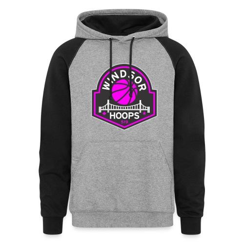 Windsor Hoops Women's Hoodie - PINK LOGO - Colorblock Hoodie