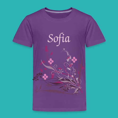 Personalize Purple Toddler T-Shirt Pink/Purple Flowers - Toddler Premium T-Shirt