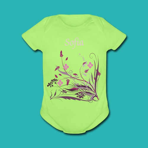 Personalize Green Infant bodysuit Pink/Purple Flowers - Organic Short Sleeve Baby Bodysuit