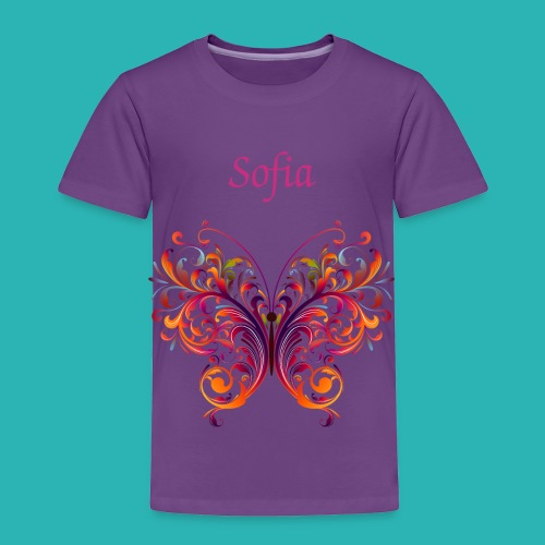Personalize Purple Toddler T-Shirt Colorful Butterfly - Toddler Premium T-Shirt