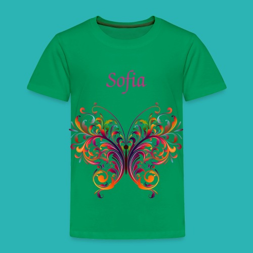 Personalize, Green Girls Toddler T-Shirt, Colorful Butterfly - Toddler Premium T-Shirt