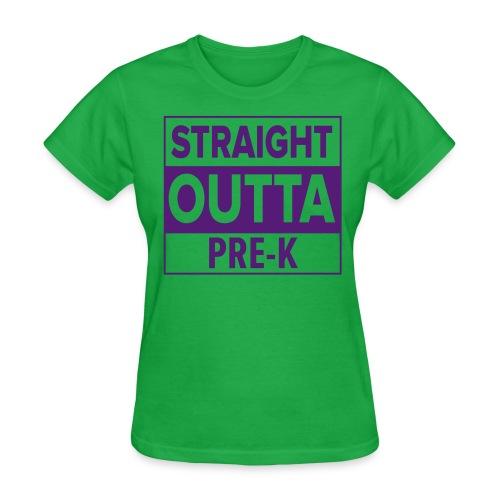 Straight Outta PreK PURPLE FLAT - Women's T-Shirt