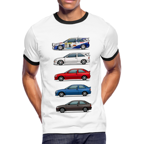 Stack of Ford Escort Mk5 Coupes - Men's Ringer T-Shirt