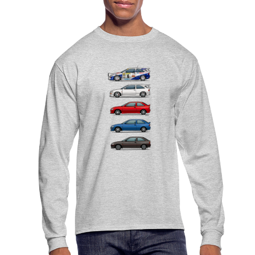 Stack of Ford Escort Mk5 Coupes - Men's Long Sleeve T-Shirt