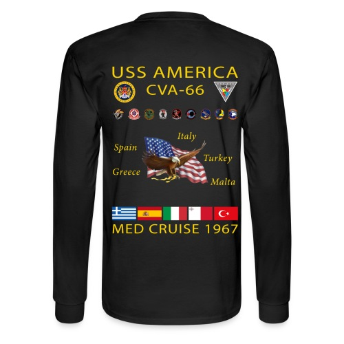 USS AMERICA CVA-66 1967 CRUISE SHIRT - LONG SLEEVE - Men's Long Sleeve T-Shirt
