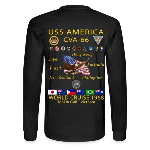USS AMERICA CVA-66 1968 CRUISE SHIRT - LONG SLEEVE - Men's Long Sleeve T-Shirt