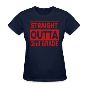 LADIES Straight Outta 2nd Grade RED GLITTER - Women's T-Shirt