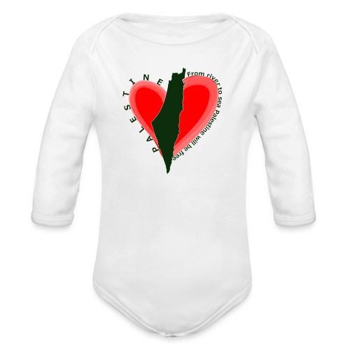 Palestine support Baby long sleeve one piece - Organic Long Sleeve Baby Bodysuit