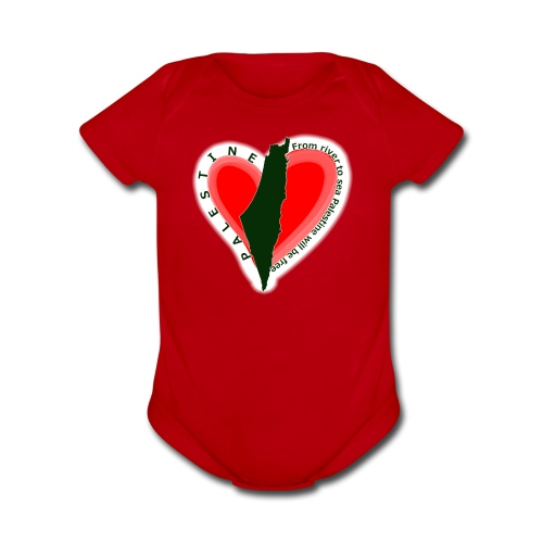 Palestine support Baby short sleeve one piece - Organic Short Sleeve Baby Bodysuit