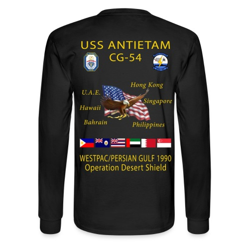USS ANTIETAM CG-54 1990 DESERT STORM CRUISE SHIRT - LONG SLEEVE - Men's Long Sleeve T-Shirt