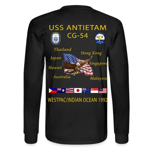 USS ANTIETAM CG-54 1992 CRUISE SHIRT-LONG SLEEVE - Men's Long Sleeve T-Shirt