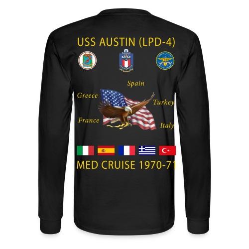 USS AUSTIN 1970-71 CRUISE SHIRT - LONG SLEEVE - Men's Long Sleeve T-Shirt