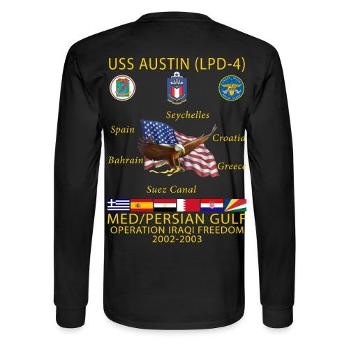 USS AUSTIN 2002-03 CRUISE SHIRT - LONG SLEEVE - Men's Long Sleeve T-Shirt