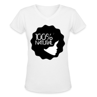 T-Shirts ~ Women's V-Neck T-Shirt ~ 100% Natural Afro T-Shirt Women'sV-Neck T-Shirt