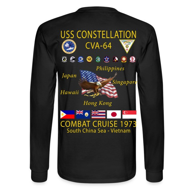 USS CONSTELLATION CVA-64 COMBAT CRUISE 1973 CRUISE SHIRT - LONG SLEEVE