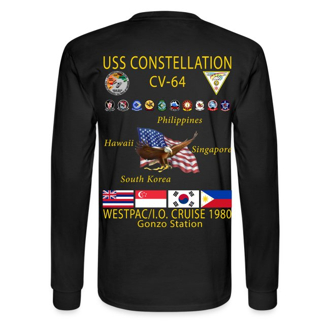 USS CONSTELLATION CV-64 WESTPAC/I.O. CRUISE 1980 CRUISE SHIRT - LONG SLEEVE - GONZO STATION GRAPHIC
