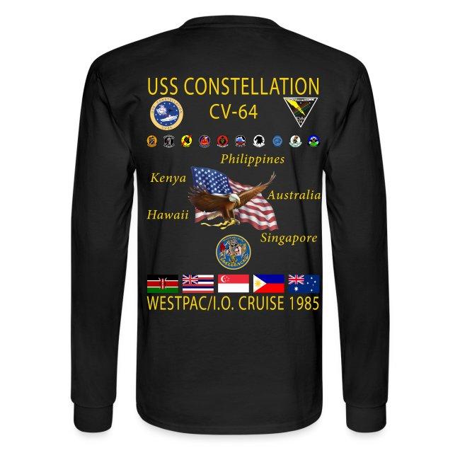 USS CONSTELLATION CV-64 WESTPAC/I.O. CRUISE 1985 CRUISE SHIRT - LONG SLEEVE