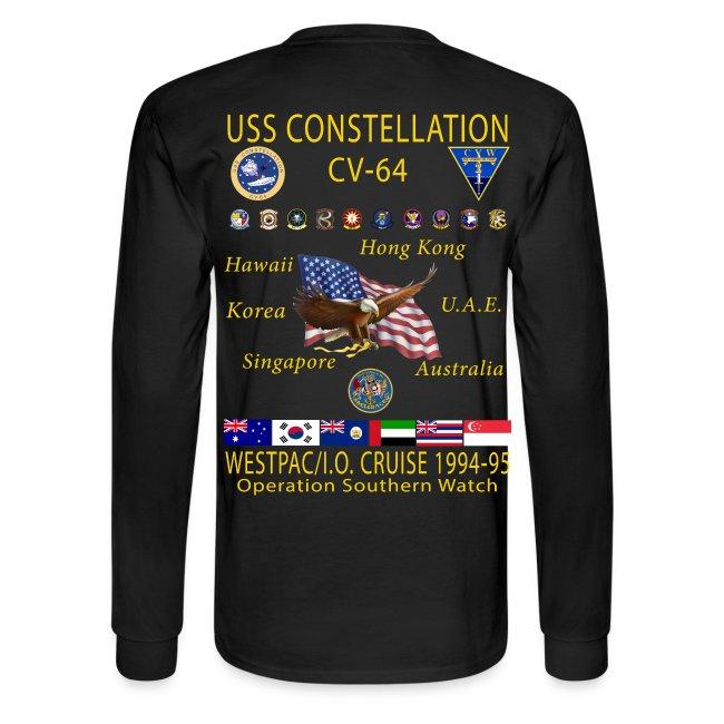 USS CONSTELLATION CV-64 WESTPAC/I.O. CRUISE 1994-95 CRUISE SHIRT - LONG SLEEVE