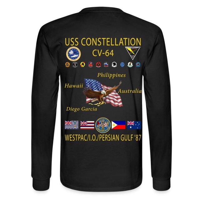 USS CONSTELLATION CV-64 WESTPAC/I.O. CRUISE 1987 CRUISE SHIRT - LONG SLEEVE